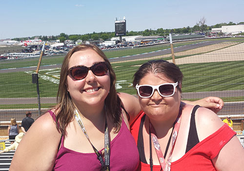 Noble volunteer and participant enjoying a day at the Indianapolis Motor Speedway.