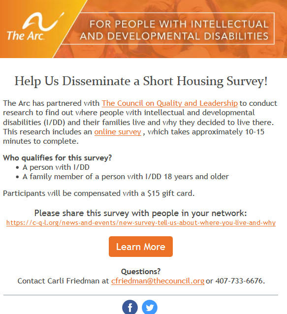 Help The Arc Conduct Housing Research