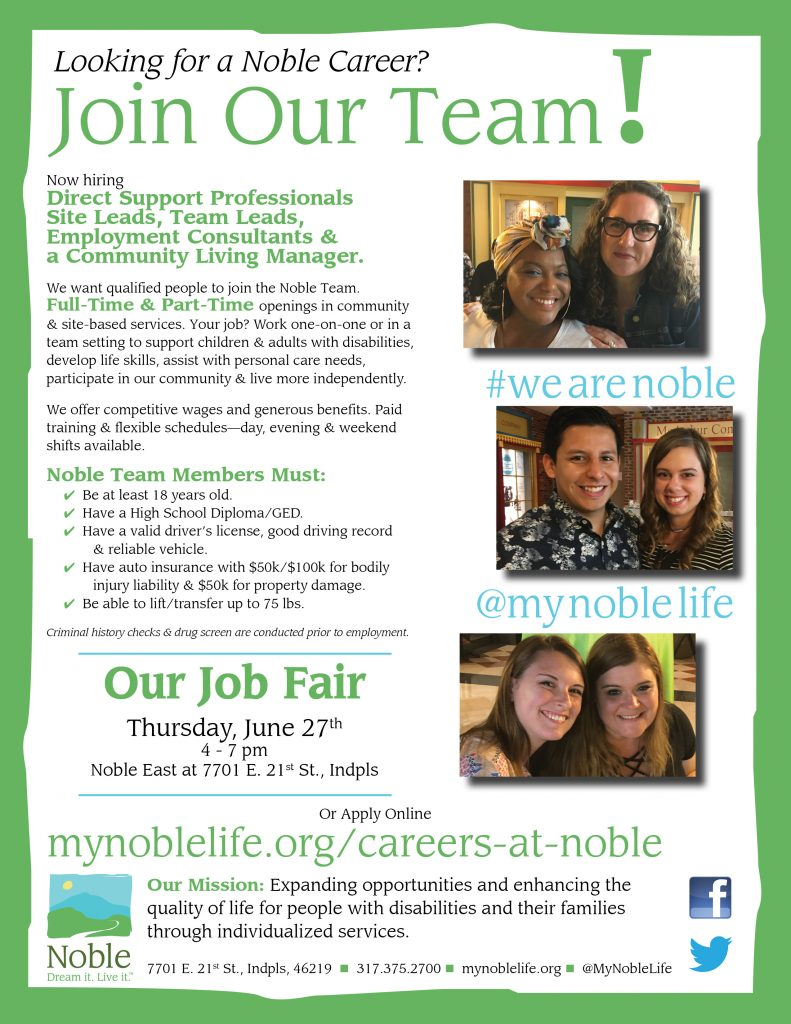 Looking for a Noble Career? Come to Our Job Fair on Thursday