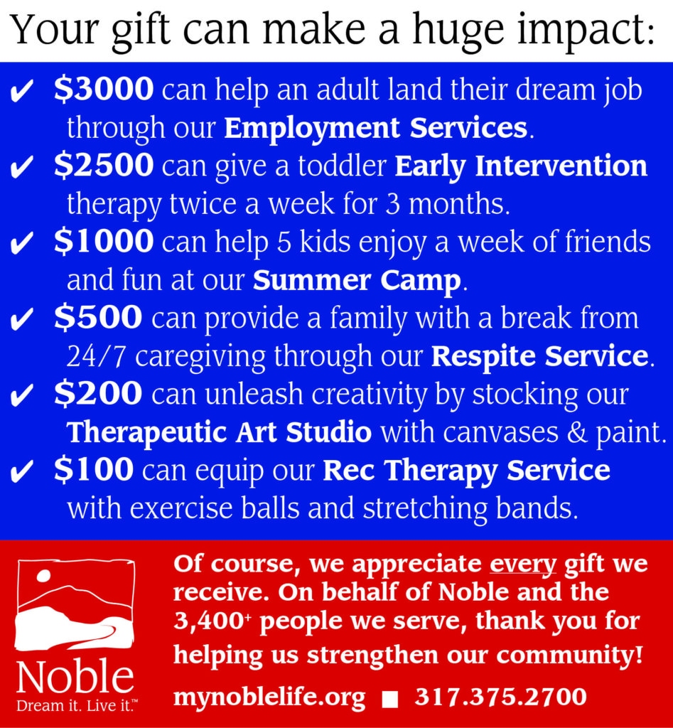Your gift can do so much for Noble