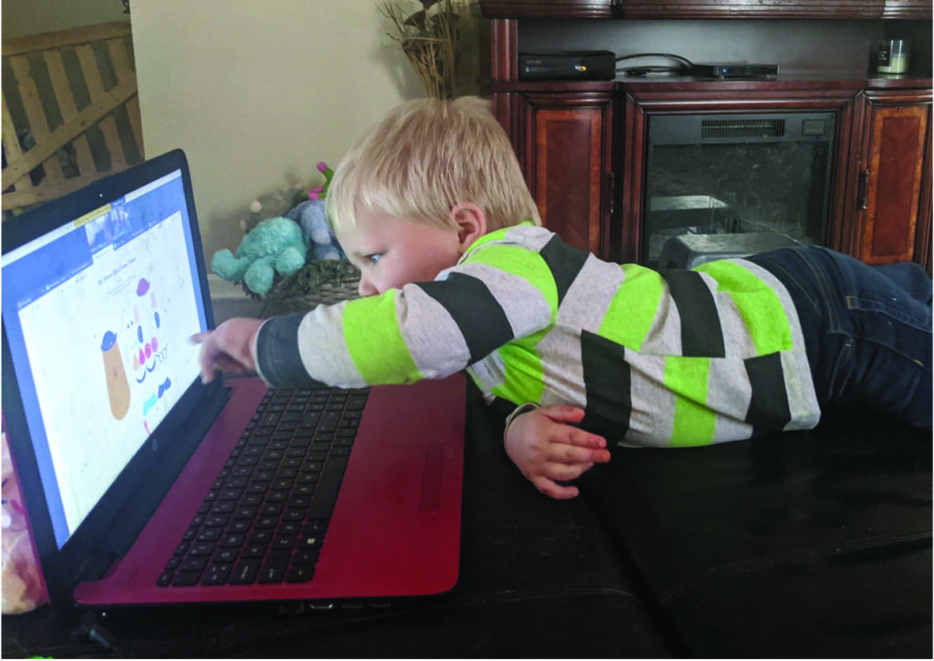 Liam loves having fun with virtual First Steps early intervention therapy