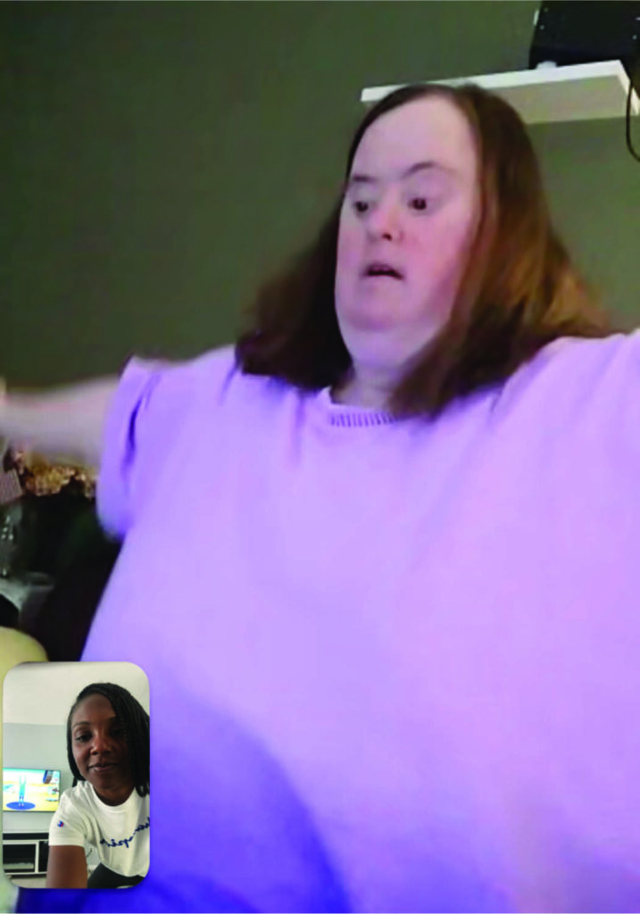 Ellen really enjoys her virtual therapy visits with Rec Therapist Ieesha Arnold